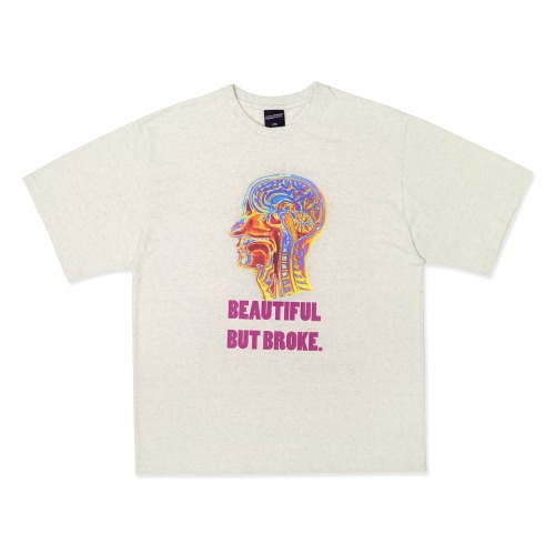 Psychedelic Brain Short Sleeve T-Shirt - OATMEAL